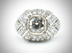 French Platinum & Diamond Bombe Ring.