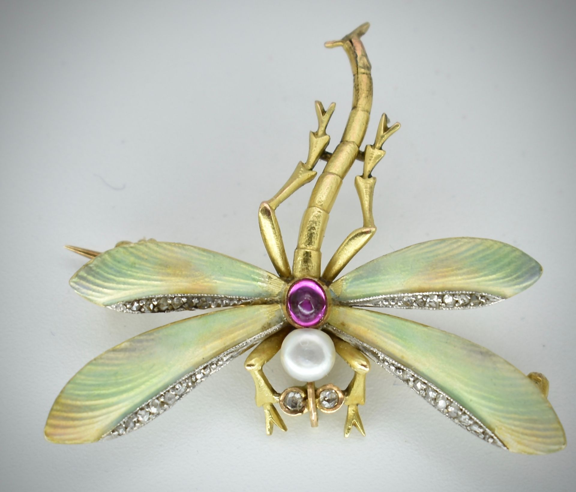14ct Gold Ruby Diamond & Pearl Dragonfly Brooch - Image 2 of 5