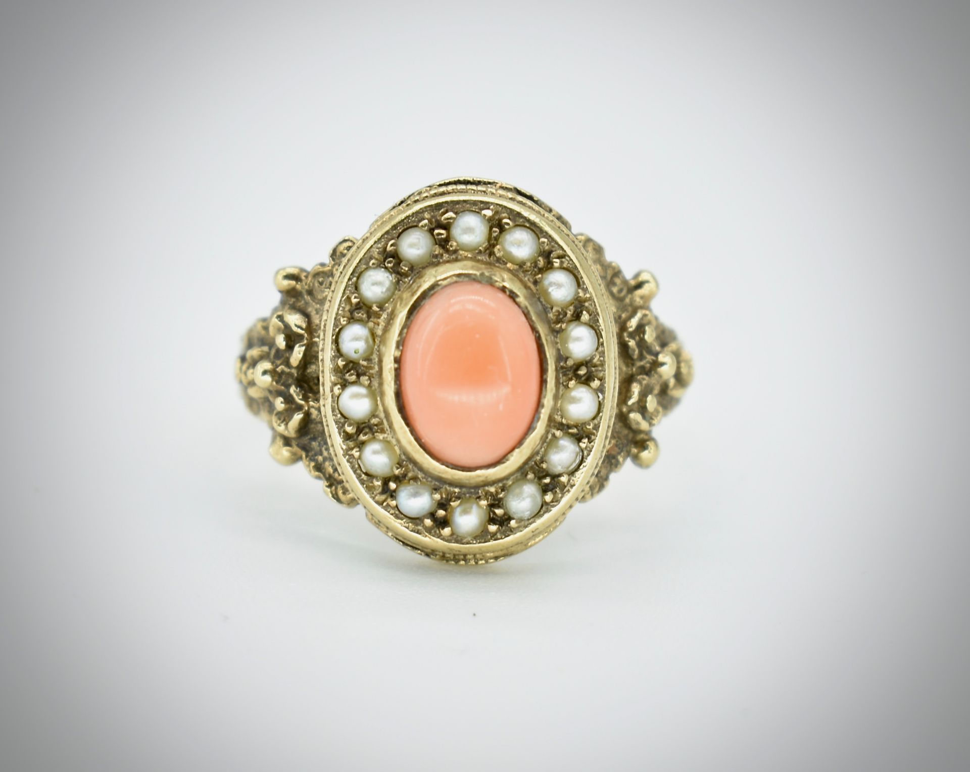9ct Gold Coral & Pearl Ring