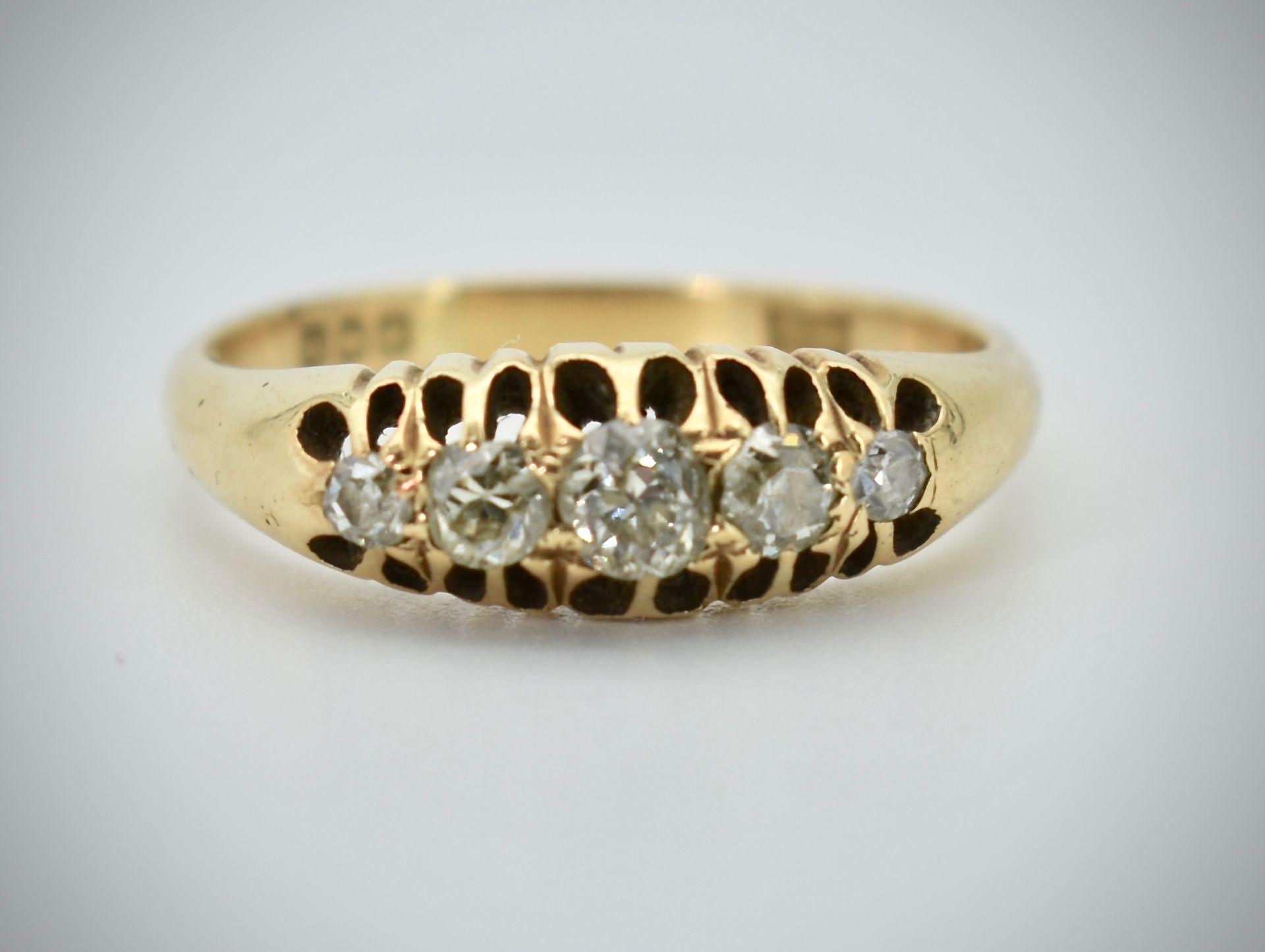 18ct Gold & Diamond Five Stone Hallmarked Ring