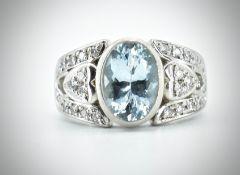 Platinum Aquamarine & Diamond Dress Ring