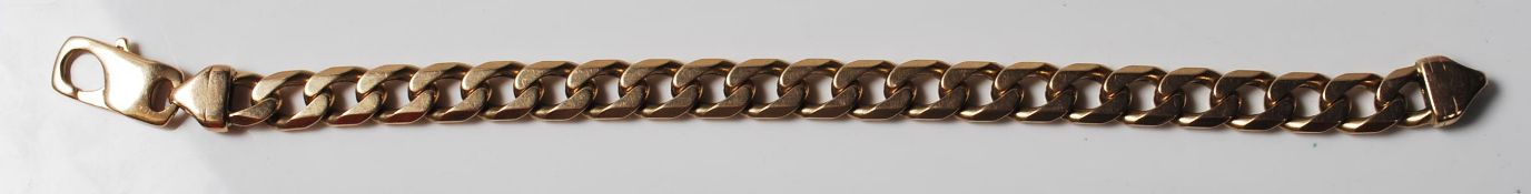 LARGE 9CT GOLD FLAT LINK BRACLET CHAIN