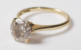 14CT GOLD AND CZ SOLITAIRE RING
