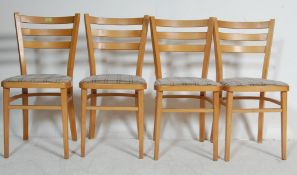 SET OF FOUR VINTAGE BEECH DINING CHAIRS