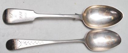 TWO ANTIQUE SILVER HALLMARKED SPOONS