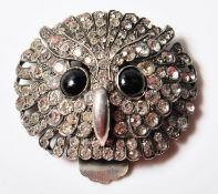 ANTIQUE SILVER AND PASTE OWL DRESS CLIP