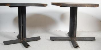 TWO VINTAGE STYLE FACTORY INDUSTRIAL TABLES