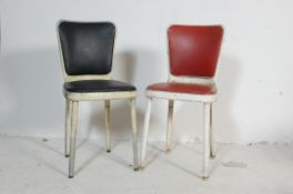 GOOD PAIR OF RETRO MID CENTURY ALUMINUM FRAMED AMERICAN KITCHEN DINERCHAIRS
