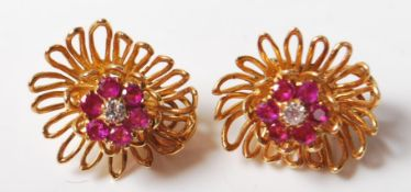 VINTAGE 18CT GOLD, DIAMOND AND RUBY CLIP ON EARRINGS
