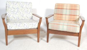 IN THE MANNER OF TOOTHILL - PAIR OF TEAK FRAMED ARMCHAIRS