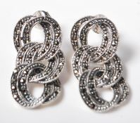 PAIR OF ,925 STERLING SILVER & MARCASITE DROP EARRINGS