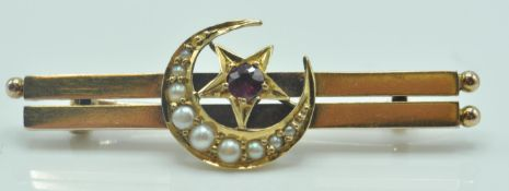 ANTIQUE 19TH CENTURY 15CT GOLD CRESCENT MOON STAR BROOCH