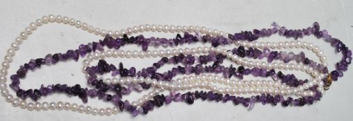 LADIES PEARL AND AMETHYST BEADED NECKLACE