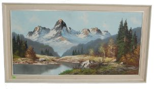 LARGE RETRO VINTAGE 1970S OIL ON CANVAS PAINTING OF MOUNTAINS