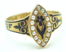 VICTORIAN 18CT GOLD SEED PEARL AND ENAMEL MEMORIAL RING