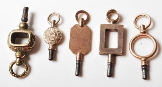 FIVE ANTIQUE POCKET WATCH KEYS OF VARIOUS SHAPES