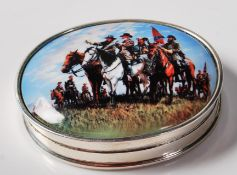 STAMPED .925 SILVER PILL BOX WITH ENAMEL CIVIL WAR PLAQUE