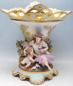 ANTIQUE PORCELAIN AND BISQUE FIGURINE VASE