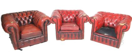 THREE 20TH CENTURY ANTIQUE STYLE OXBLOOD LEATHER CHESTERFIELD CHAIRS