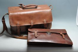 TWO MID CENTURY BROWN LEATHER BAGS