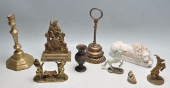COLLECTION OF ANTIQUE EARLY 20TH CENTURY BRASS AND STONEWARE