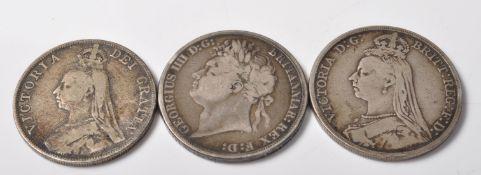 THREE 19TH CENTURY SILVER CROWNS