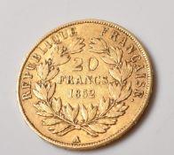1952 NAPOLEON III 20 FRANCS GOLD COIN