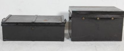 TWO EARLY 20TH CENTURY METAL SHIPPING TRUNKS
