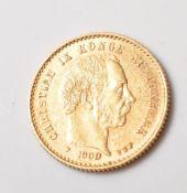1900 DANISH 10 KRONER GOLD COIN