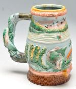 VINTAGE LATE 20TH CENTURY MAJOLICA STYLE FISHING BEER TANKARD STEIN
