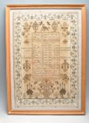 EARLY 19TH CENTURY 1834 REGENCY FRAMED SAMPLER