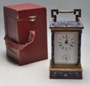 FRENCH BRASS AND ENAMEL CARRIAGE CLOCK WITH BOX AND KEY