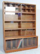 1970'S TEAK WOOD VENEER SIMPLEX LAWYER BOOKCASE CABINET