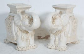PAIR OF 20TH CENTURY LARGE ELEPHANT CHINESE PLANTERS