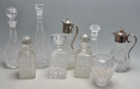 GROUP OF 2OTH CENTURY CUT GLASS DECANTERS