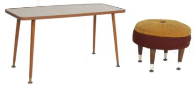 RETRO VINTAGE 1970S TEAK WOOD COFFEE TABLE WITH A CIRCULAR POUFFE/FOOTREST
