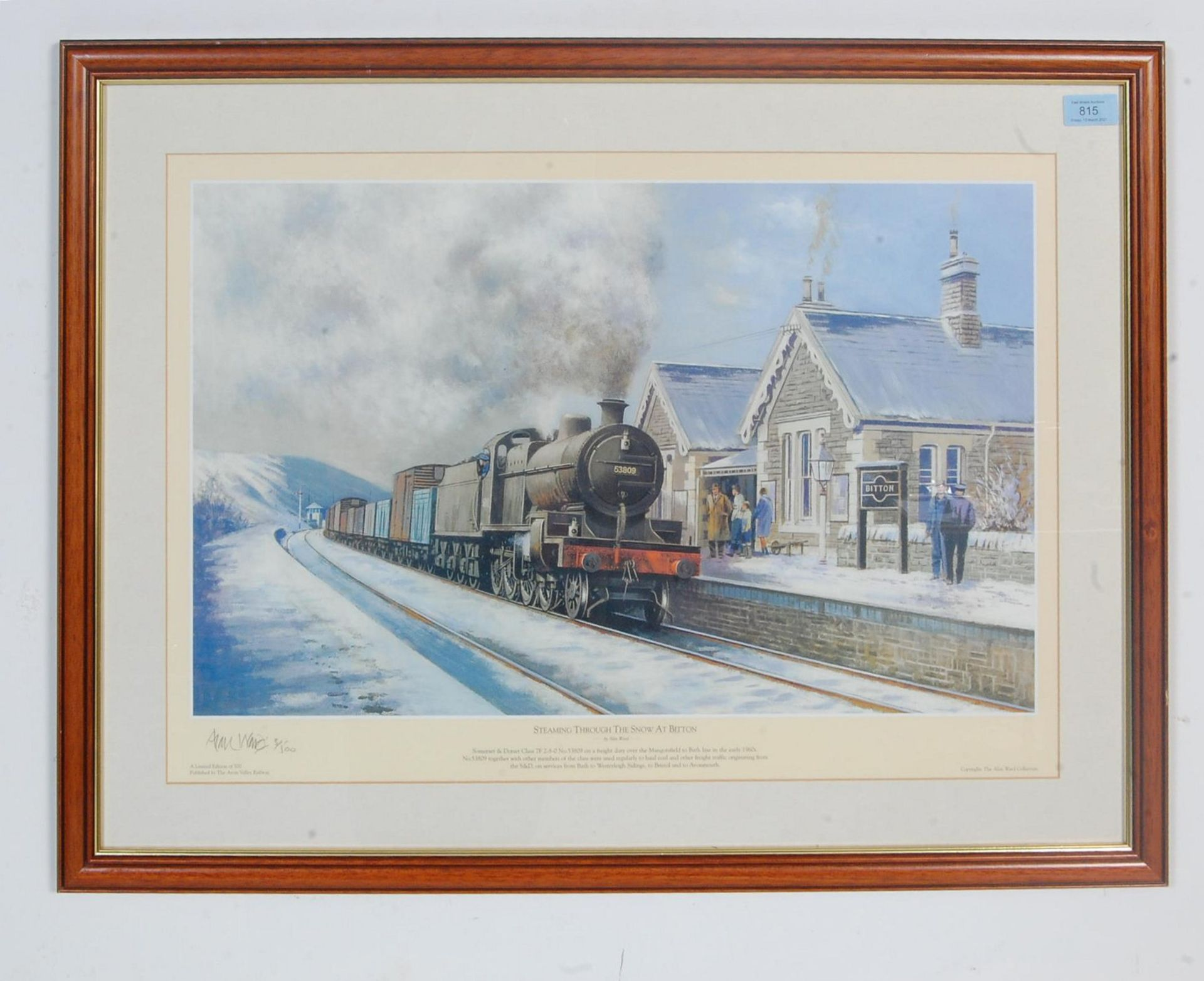 RAILWAY INTEREST - STEAMING THROUGH THE SNOW AT BITTON - LTD ED PRINT