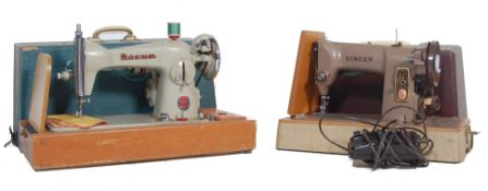 TWO VINTAGE 20TH CENTURY SEWING MACHINES