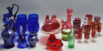 ANTIQUE 19TH CENTURY RUBY FLASH GLASS AND BLUE GLASS