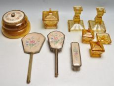 EARLY 20TH CENTURY ART DECO 1930S AMBER GLASS VANITY SET