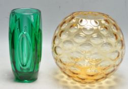 TWO MID CENTURY CZECHOSLOVAKIAN STUDIO ART GLASS VASES