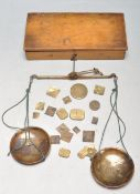 LATE 20TH CENTURY EARLY 19TH CENTURY BRASS OPIUM / APOTHCARY SCALES