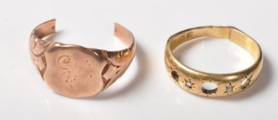 TWO ANTIQUE 18CT & 9CT GOLD RINGS