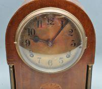 EARLY 20TH CENTURY EDWARDIAN ANTIQUE MAHOGANY CASED MANTEL CLOCK