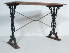 19TH CENTURY VICTORIAN CAST IRON AND WOOD GARDEN TABLE / PUB TABLE