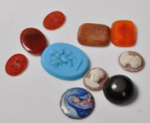 TEN ANTIQUE CAMEO'S AND INTAGLIO'S
