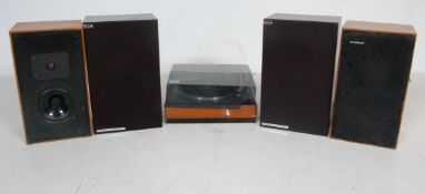 RETRO VINTAGE 20TH CENTURY TEAK WOOD CASE GARRARD RECORD PLAYER AND SPEAKERS