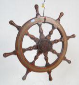 EARLY 20TH CENTURY BRASS AND MAHOGANY SHIPS WHEEL