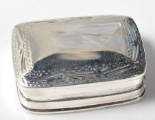 STAMPED .925 SILVER PILL BOX WITH ETCHED FOLIATE DECORATION