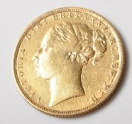 1872 VICTORIAN GOLD FULL SOVEREIGN COIN